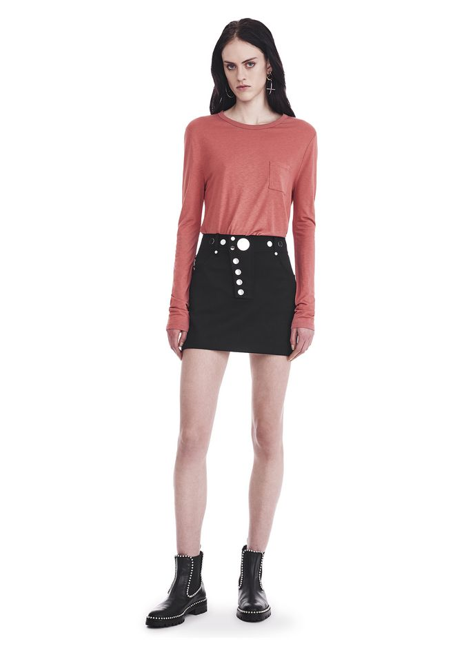 T by ALEXANDER WANG CLASSIC CROPPED LONG SLEEVE TEE TOP Adult 12_n_f
