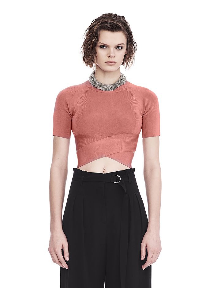 T by ALEXANDER WANG TOPS KNIT CRISS CROSS CROP TOP