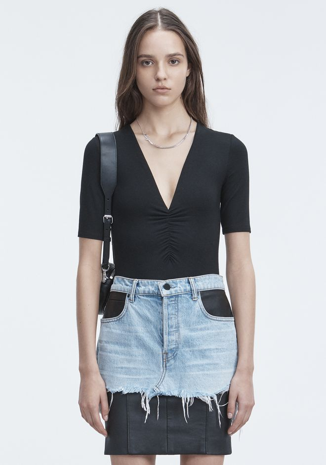 T by ALEXANDER WANG t-by-alexander-wang-classics EXCLUSIVE SHIRRED SHORT SLEEVE BODYSUIT
