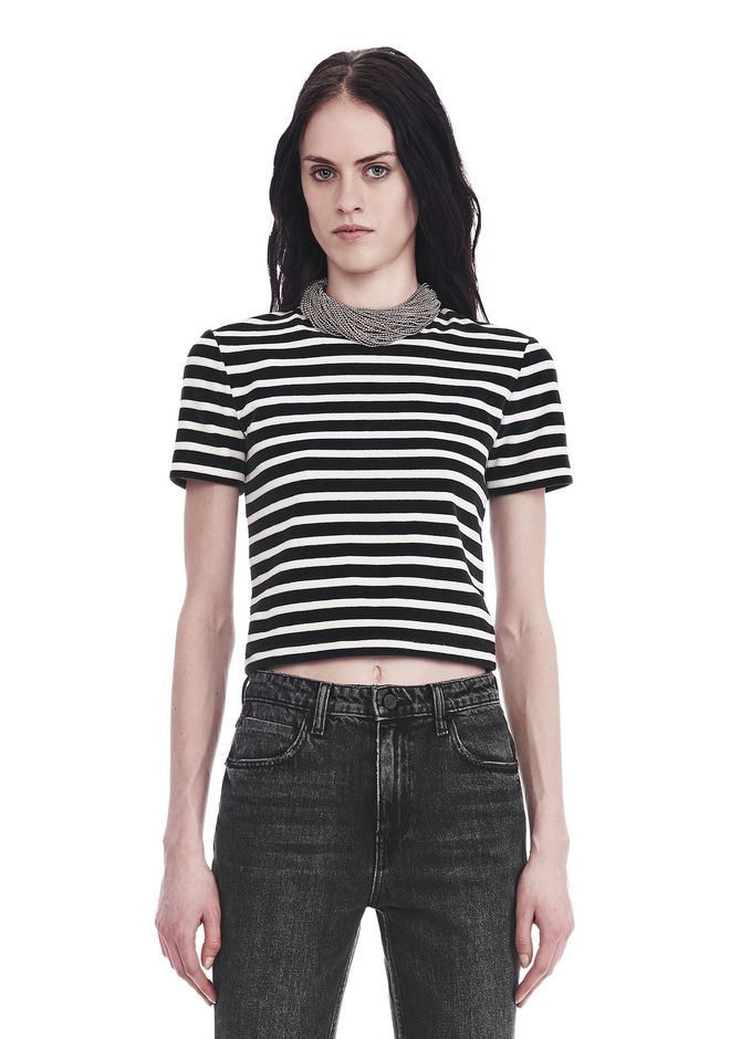 T by ALEXANDER WANG TOPS STRIPED VELOUR MOCK NECK TOP