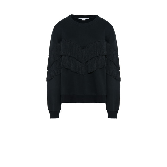 Black Round Neck Fringe Jumper