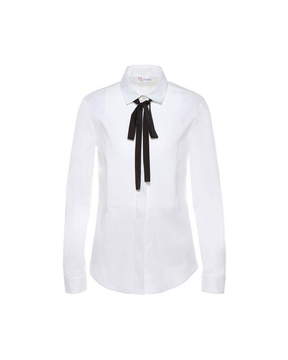 58b4067d33 REDValentino Cotton Poplin Tuxedo Shirt - Shirt for Women ...