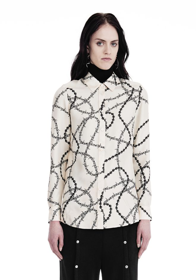 ALEXANDER WANG new-arrivals-ready-to-wear-woman BUTTON-UP SHIRT WITH BARBED WIRE PRINT