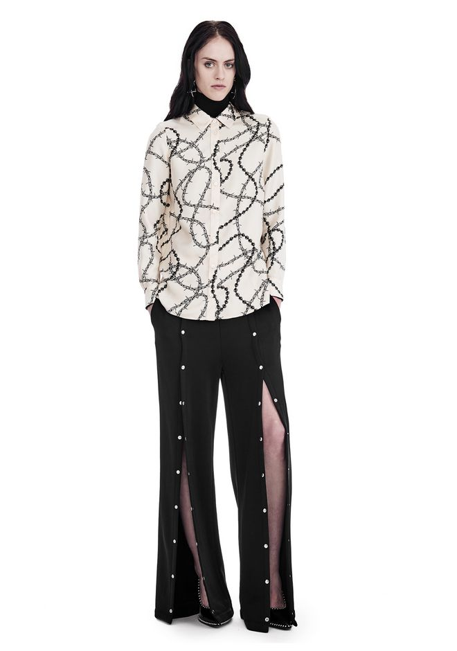 ALEXANDER WANG TOPS BUTTON-UP SHIRT WITH BARBED WIRE PRINT