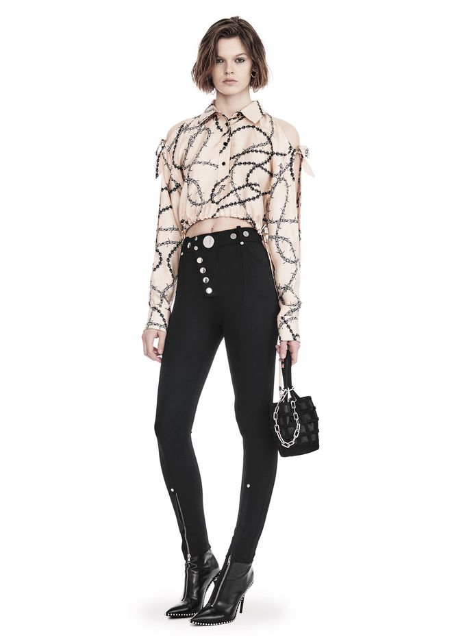 ALEXANDER WANG TOPS CROPPED BLOUSE WITH SLIT SHOULDERS AND BARBED WIRE PRINT
