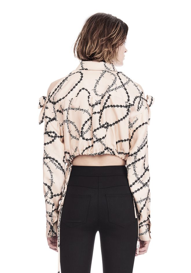 ALEXANDER WANG CROPPED BLOUSE WITH SLIT SHOULDERS AND BARBED WIRE PRINT  上衣 Adult 12_n_d