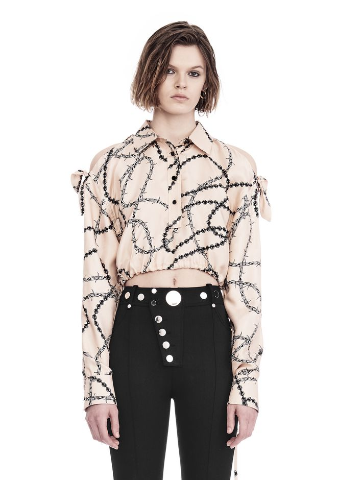 ALEXANDER WANG CROPPED BLOUSE WITH SLIT SHOULDERS AND BARBED WIRE PRINT  上衣 Adult 12_n_e