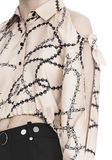 ALEXANDER WANG CROPPED BLOUSE WITH SLIT SHOULDERS AND BARBED WIRE PRINT  上衣 Adult 8_n_r