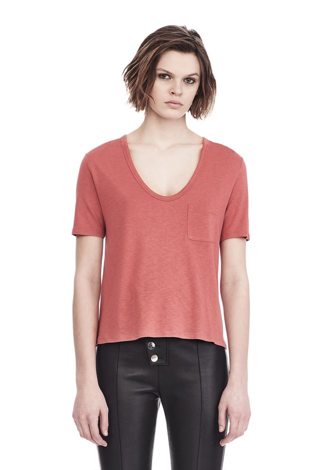 T by ALEXANDER WANG TOPS CLASSIC CROPPED TEE WITH POCKET