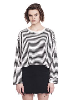 STRIPED LONG SLEEVE DROP SHOULDER TEE