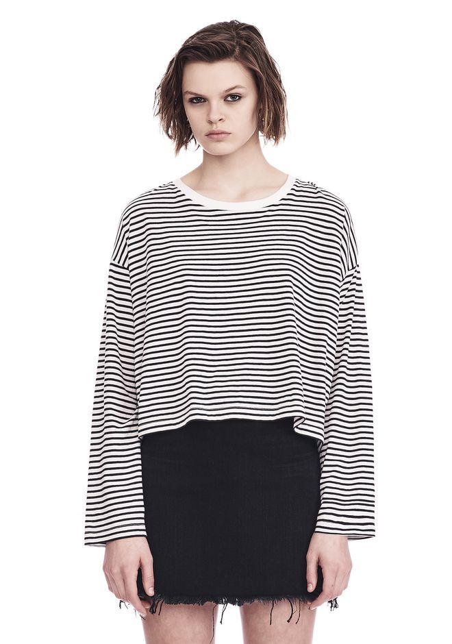 T by ALEXANDER WANG TOPS STRIPED LONG SLEEVE DROP SHOULDER TEE