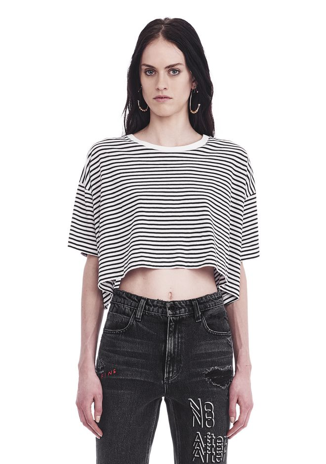 T by ALEXANDER WANG TOPS STRIPED SHORT SLEEVE DROP SHOULDER TEE