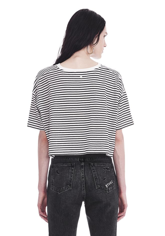 T by ALEXANDER WANG STRIPED SHORT SLEEVE DROP SHOULDER TEE 上衣 Adult 12_n_d