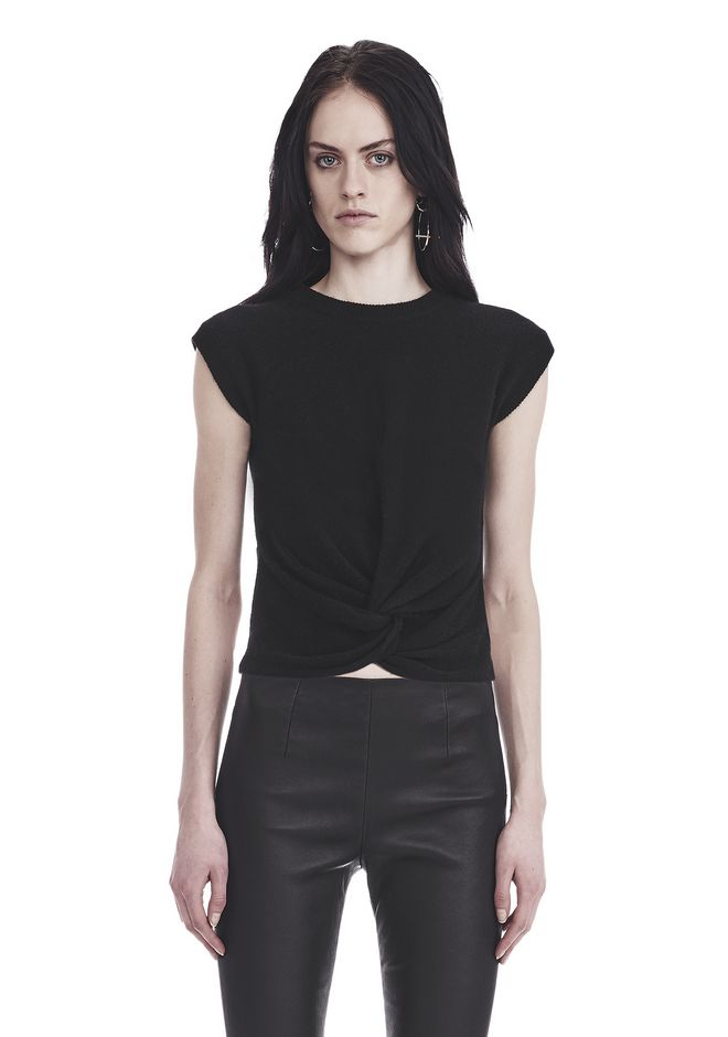 T by ALEXANDER WANG  TWIST FRONT SHORT SLEEVE CROPPED SWEATER 上衣 Adult 12_n_a
