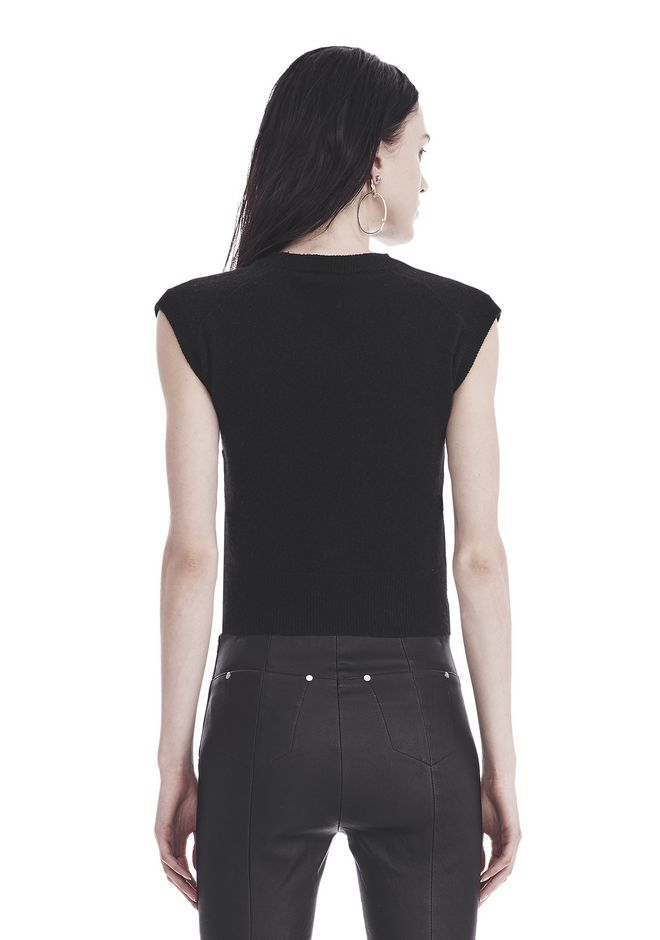T by ALEXANDER WANG  TWIST FRONT SHORT SLEEVE CROPPED SWEATER 上衣 Adult 12_n_d