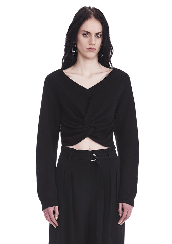 T by ALEXANDER WANG TOPS TWIST FRONT LONG SLEEVE CROPPED SWEATER