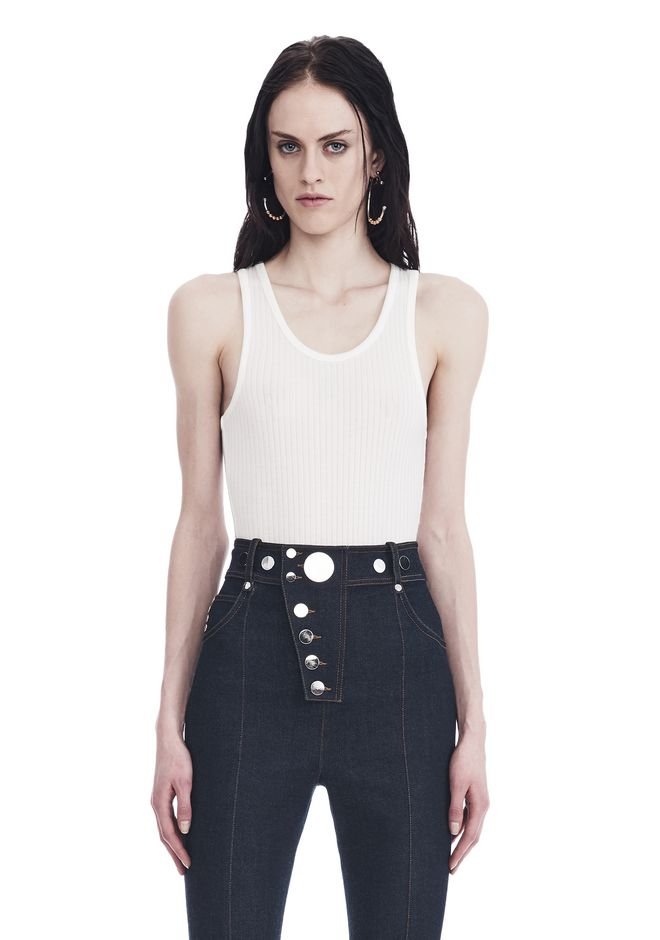 T by ALEXANDER WANG SLEEVELESS RIBBED BODYSUIT 上衣 Adult 12_n_e