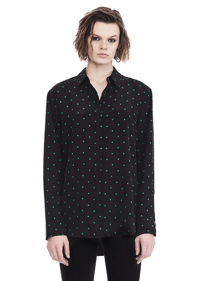 T by ALEXANDER WANG TOPS PRINTED SILK LONG SLEEVE COLLARED SHIRT