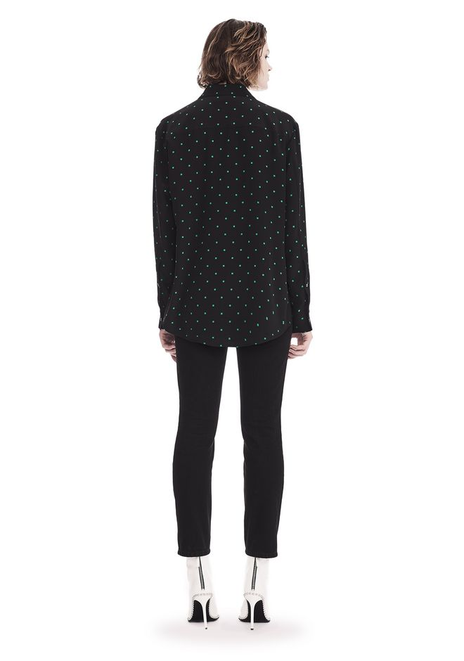 T by ALEXANDER WANG PRINTED SILK LONG SLEEVE COLLARED SHIRT 上衣 Adult 12_n_r