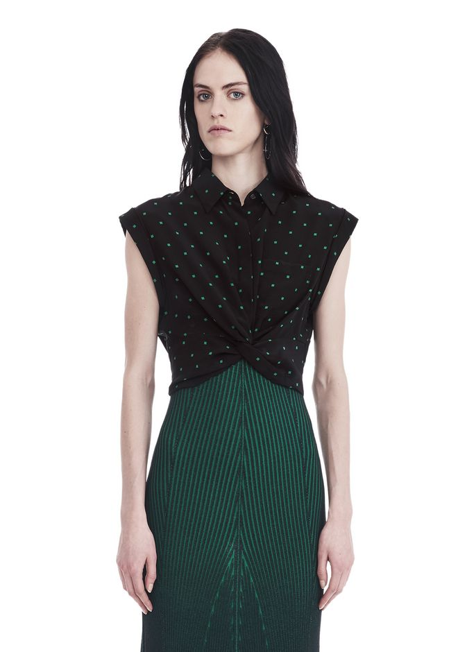 T by ALEXANDER WANG TOPS PRINTED SILK TWIST FRONT COLLARED SHIRT