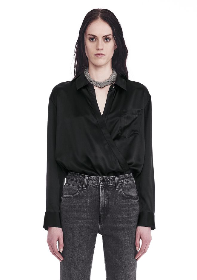 T by ALEXANDER WANG TOPS SILK CHARMEUSE LONG SLEEVE WRAP SHIRT BODYSUIT