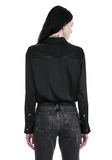 T by ALEXANDER WANG SILK CHARMEUSE LONG SLEEVE WRAP SHIRT BODYSUIT  TOP Adult 8_n_a