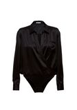 T by ALEXANDER WANG SILK CHARMEUSE LONG SLEEVE WRAP SHIRT BODYSUIT  TOP Adult 8_n_d