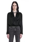 T by ALEXANDER WANG SILK CHARMEUSE LONG SLEEVE WRAP SHIRT BODYSUIT  TOP Adult 8_n_e
