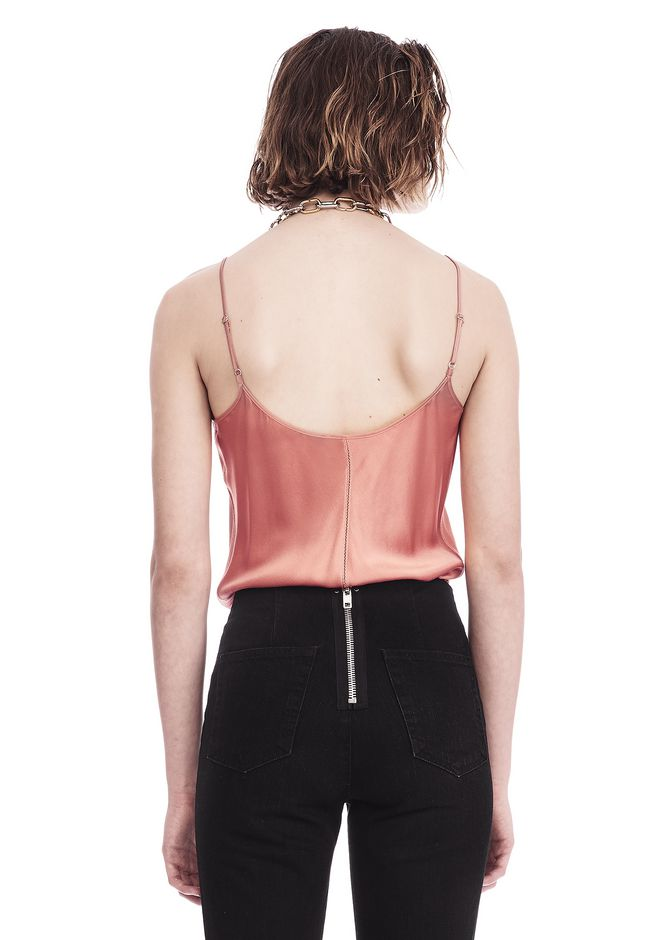 T by ALEXANDER WANG SILK CHARMEUSE CAMI BODYSUIT TOP Adult 12_n_a