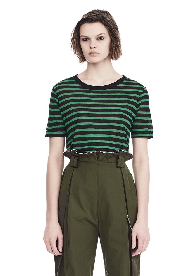 T by ALEXANDER WANG TOPS CROPPED STRIPE LINEN SHORT SLEEVE TEE