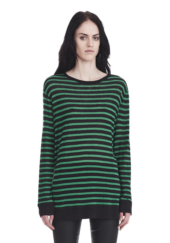 T by ALEXANDER WANG TOPS STRIPED LINEN LONG SLEEVE TEE