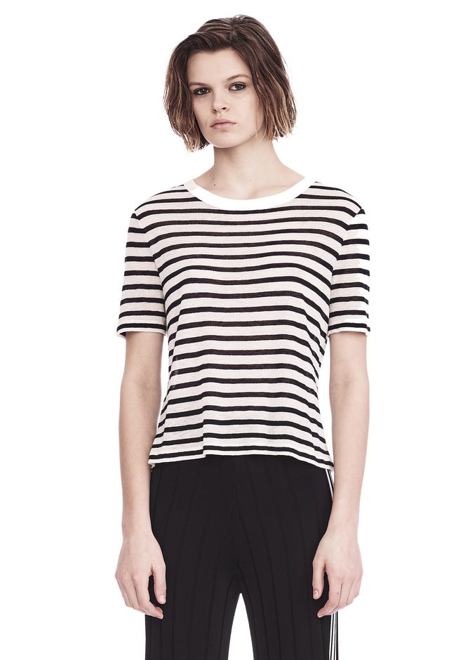 T by ALEXANDER WANG t-shirts CROPPED STRIPE LINEN SHORT SLEEVE TEE