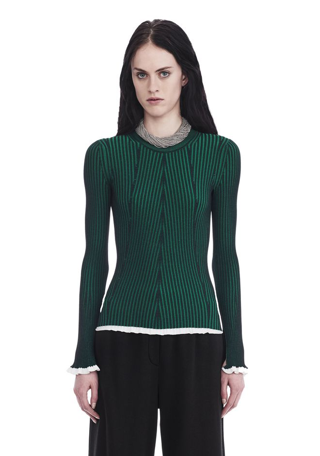 T by ALEXANDER WANG TOPS FLARED SLEEVE RIB SWEATER