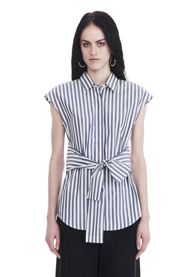 T by ALEXANDER WANG TOPS Women STRIPED SHORT SLEEVE FRONT TIE SHIRT