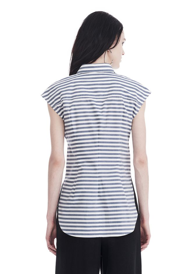 Alexander wang striped short sleeve front tie shirt top for Striped tie with striped shirt
