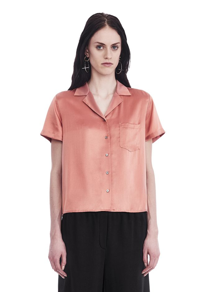 T by ALEXANDER WANG TOPS Women SILK CHARMEUSE SHORT SLEEVE COLLARED SHIRT