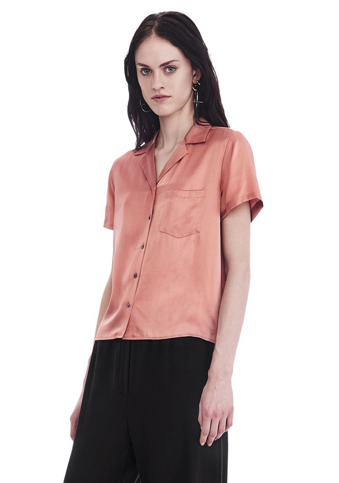 T by ALEXANDER WANG SILK CHARMEUSE SHORT SLEEVE COLLARED SHIRT TOP Adult 12_n_a