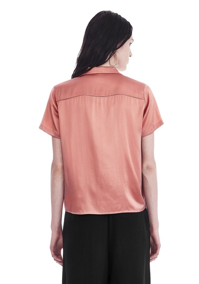 T by ALEXANDER WANG SILK CHARMEUSE SHORT SLEEVE COLLARED SHIRT TOP Adult 12_n_d