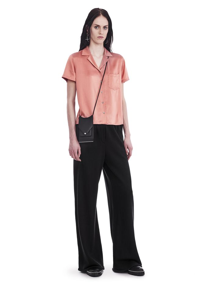 T by ALEXANDER WANG SILK CHARMEUSE SHORT SLEEVE COLLARED SHIRT TOP Adult 12_n_f