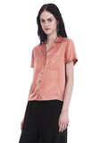 T by ALEXANDER WANG SILK CHARMEUSE SHORT SLEEVE COLLARED SHIRT TOP Adult 8_n_a