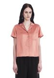 T by ALEXANDER WANG SILK CHARMEUSE SHORT SLEEVE COLLARED SHIRT TOP Adult 8_n_e