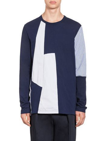 Marni T-shirt in striped jersey and cotton Man