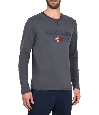 NAPAPIJRI SOLIN LONG SLEEVES MAN LONG SLEEVE T-SHIRT,LEAD