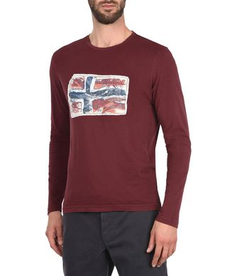 NAPAPIJRI SACHS LONG SLEEVES MAN LONG SLEEVE T-SHIRT,MAROON