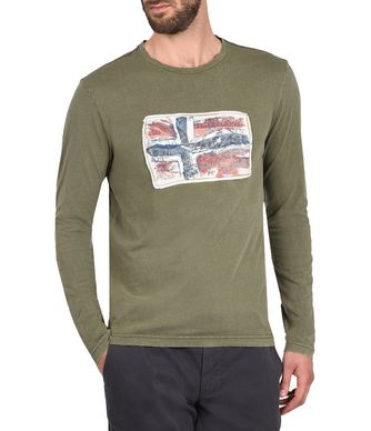 NAPAPIJRI SACHS LONG SLEEVES MAN LONG SLEEVE T-SHIRT,MILITARY GREEN
