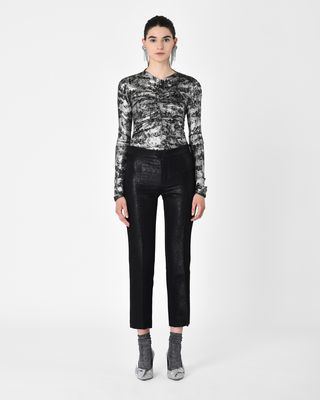 MATEO lustrous jacquard lurex flared trousers