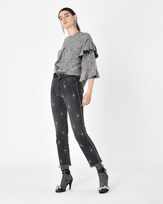 ISABEL MARANT TOP D BASILE sequin embroidered top r