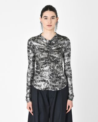 DIEGO top in jersey, silk jacquard and lurex