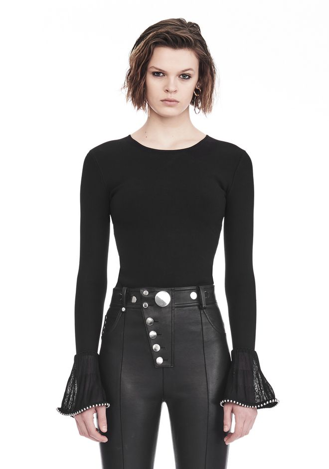 ALEXANDER WANG LONG SLEEVE PULLOVER WITH RUFFLED BALL CHAIN CUFFS 上衣 Adult 12_n_e