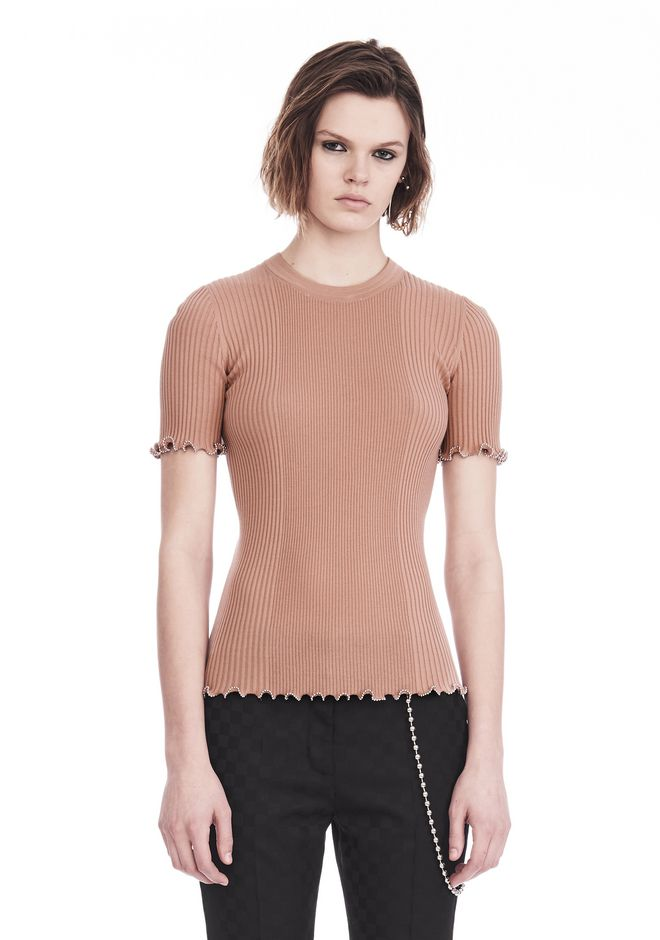 ALEXANDER WANG TOPS Women RIBBED TEE WITH RUFFLED BALL CHAIN HEMS